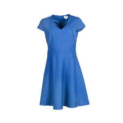 v neck simple midi dress blue